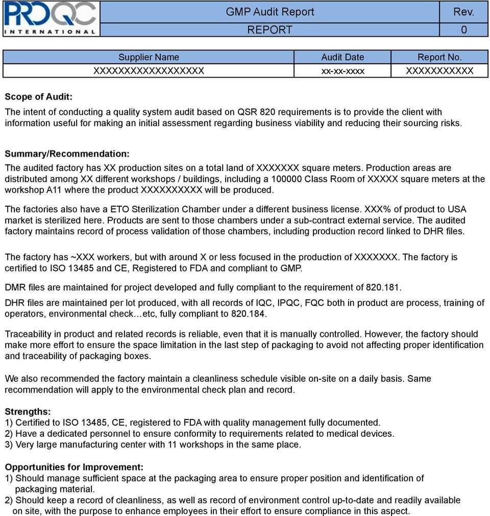 Gmp Audit Report. * Example Report * - Pdf Pertaining To Gmp Audit Report Template