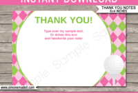 Golf Birthday Party Thank You Cards Template – Pink/green intended for Thank You Note Cards Template