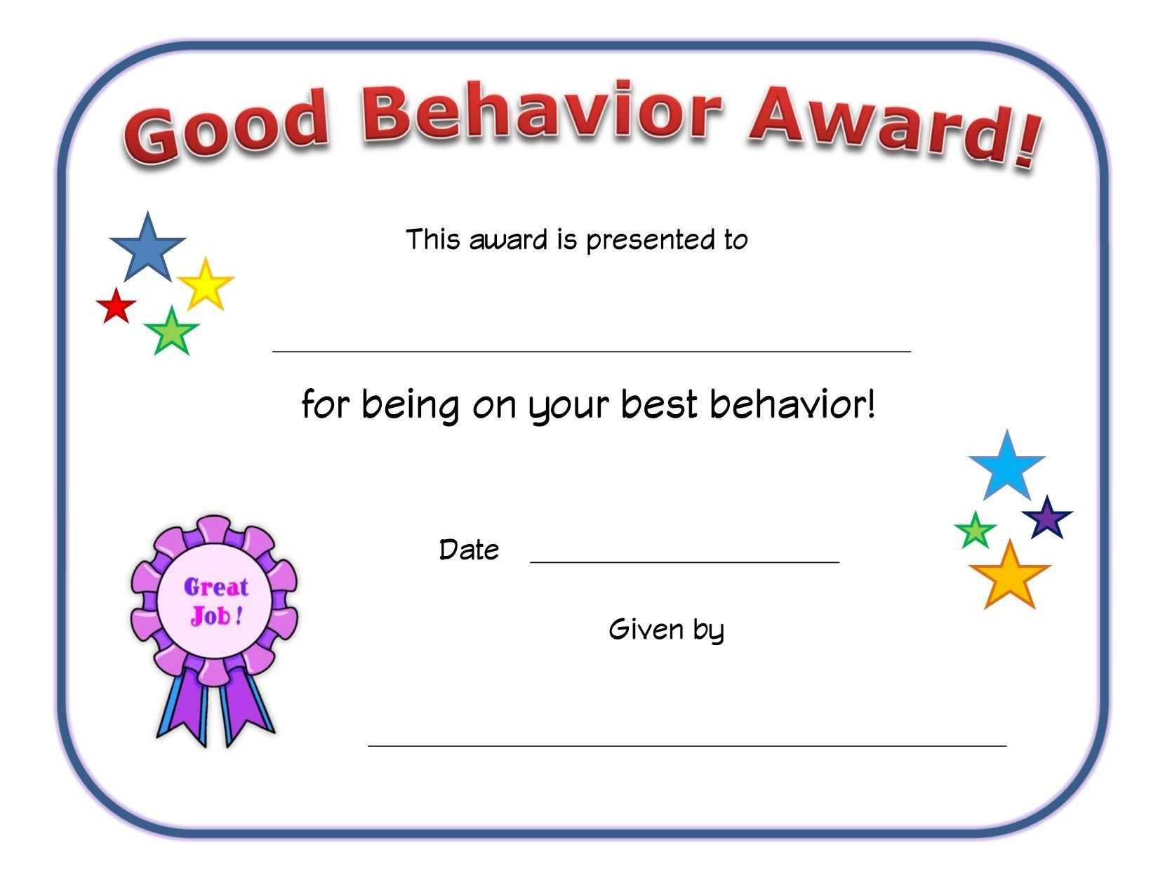 Good Behavior Award Certificate | Printable Certificates inside Good Job Certificate Template