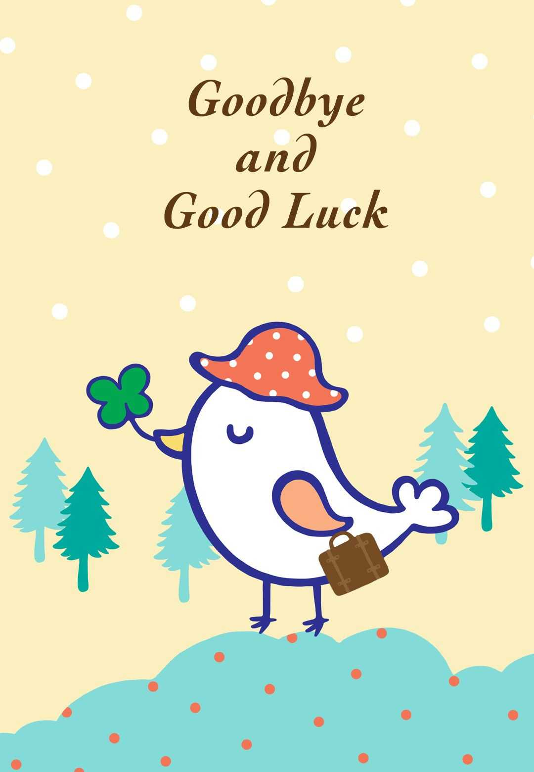 Goodbye And Good Luck - Farewell Card (Free | Goodbye Cards Inside Goodbye Card Template