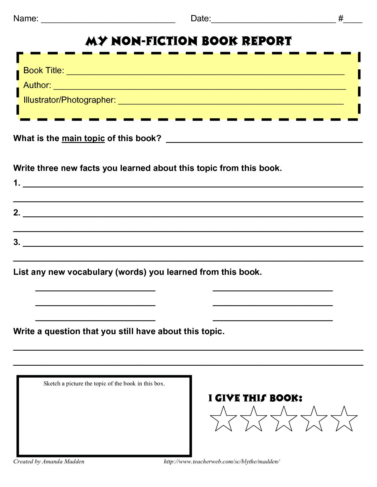 Grade 4 Book Report Template Non Fiction   Book Report Regarding Nonfiction Book Report Template