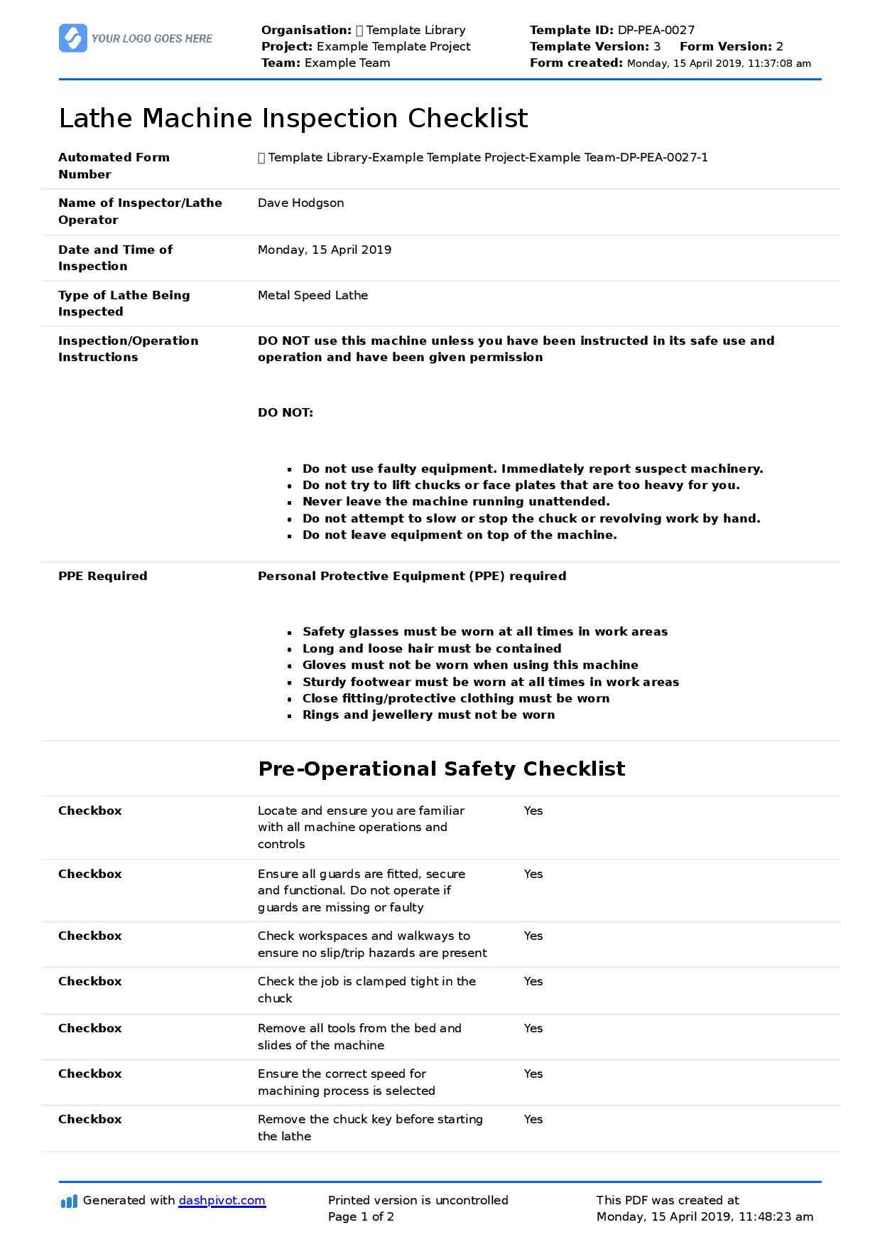 Great Machine Shop Inspection Report Template With for Machine Shop Inspection Report Template