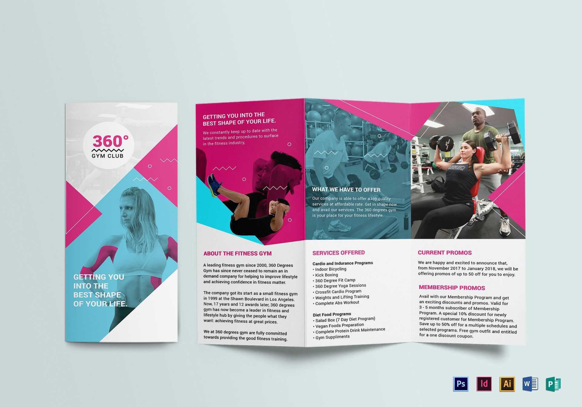 Gym Tri-Fold Brochure Template regarding Tri Fold Brochure Template Illustrator