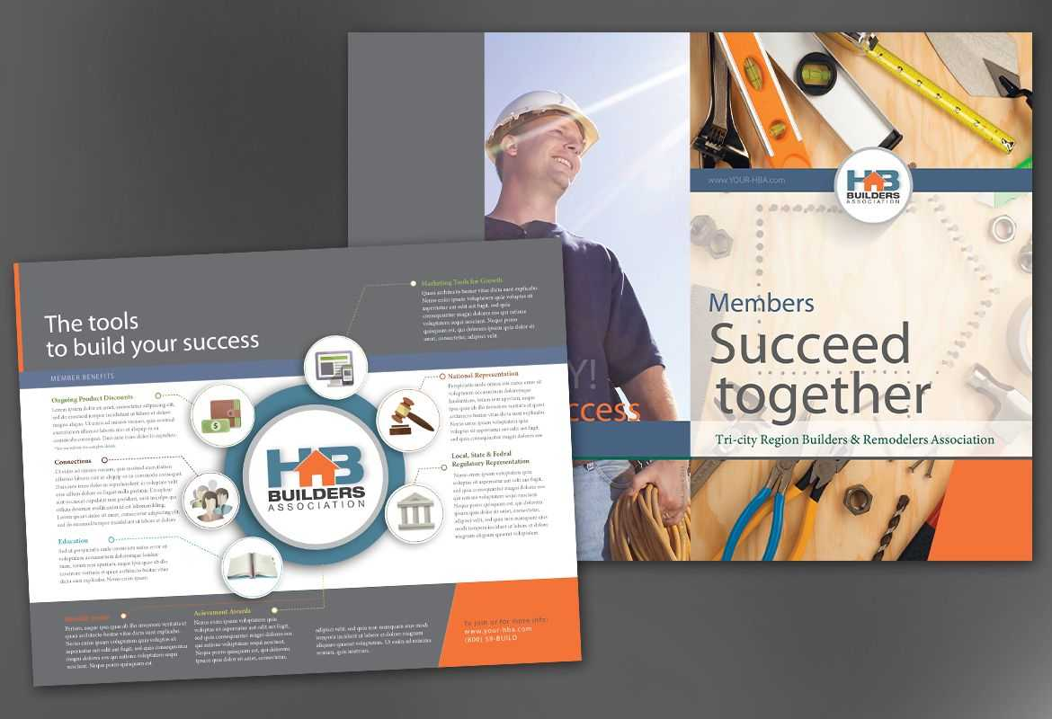 Half Fold Brochure Template For Builders Association. Order with Half Page Brochure Template