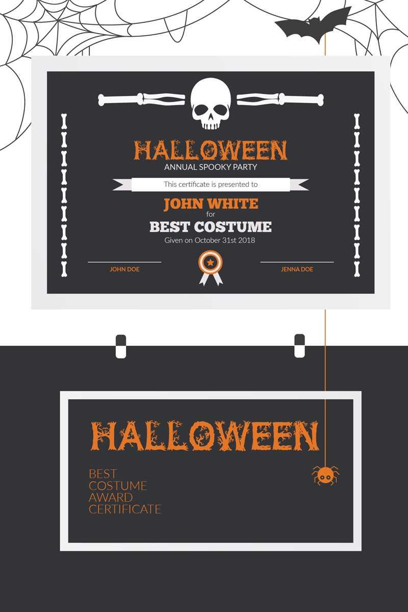 Halloween Best Costume Award Certificate Template within Halloween Certificate Template