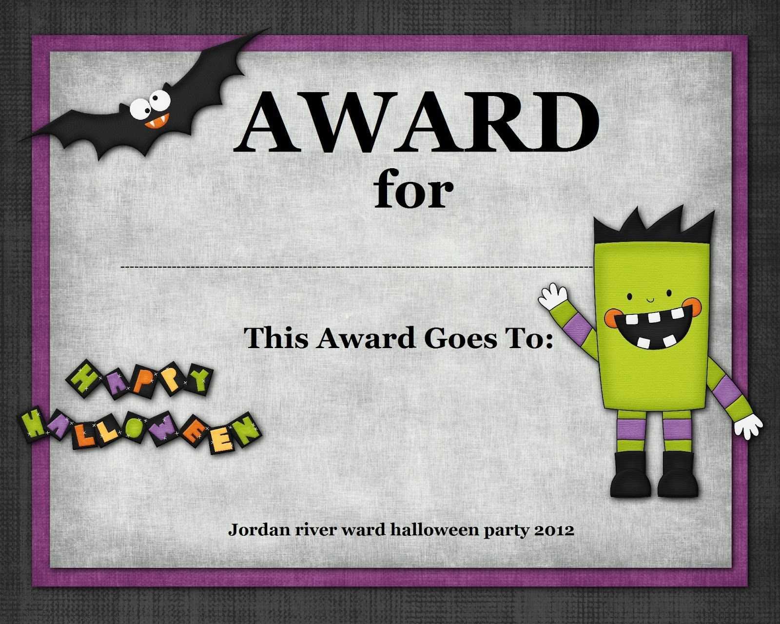 Halloween Costume Award In 2019   Halloween Costume Contest with regard to Halloween Certificate Template