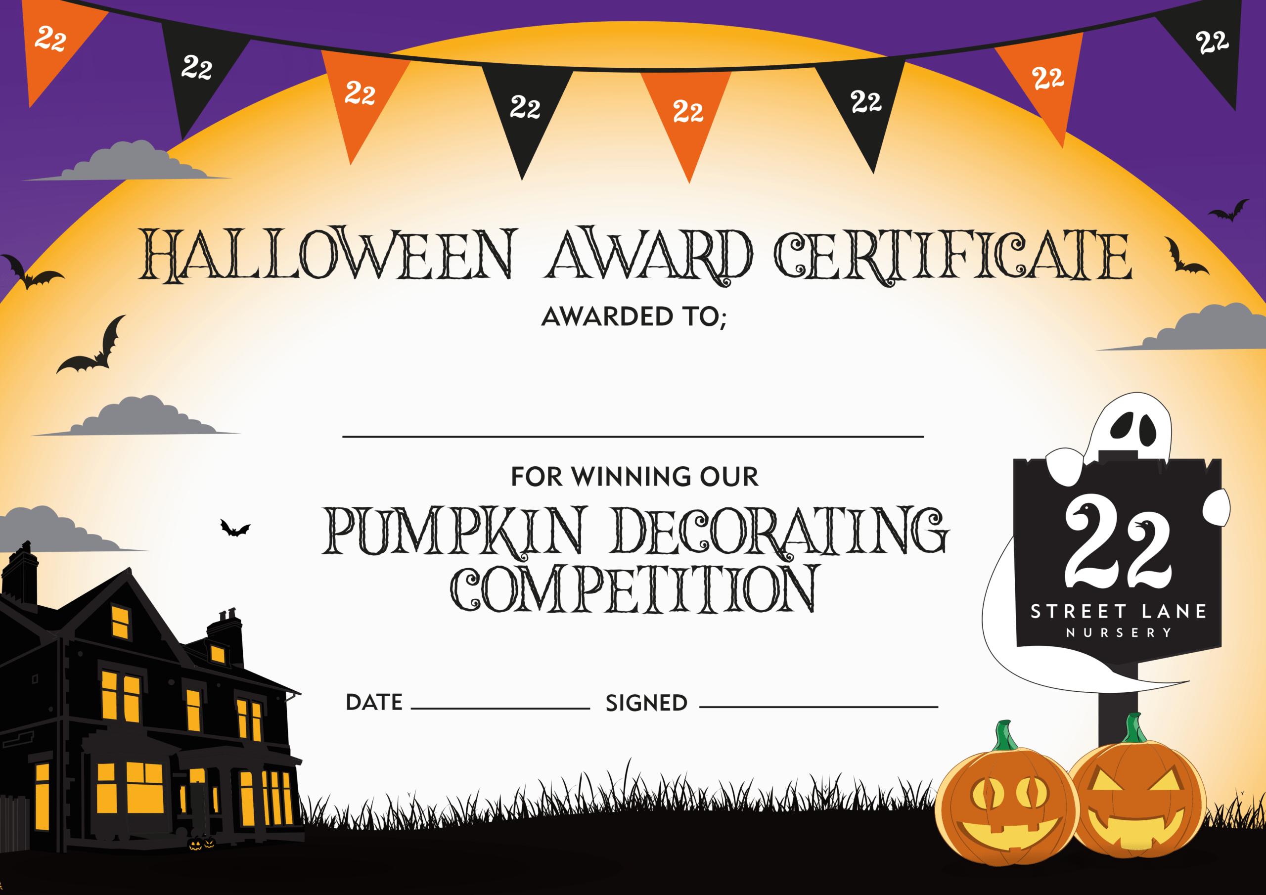 Halloween Pumpkin Decorating Competition Certificate throughout Halloween Certificate Template