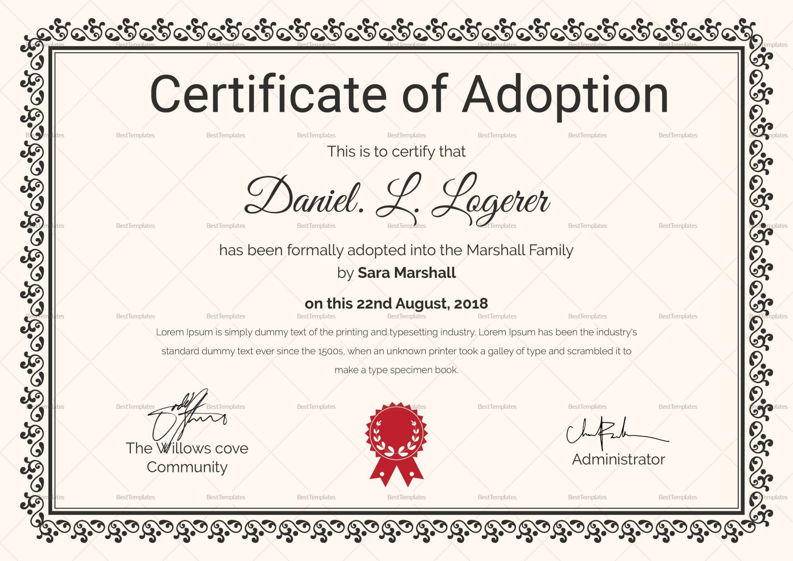 Happy Adoption Certificate Template | Adoption Certificate Throughout Adoption Certificate Template
