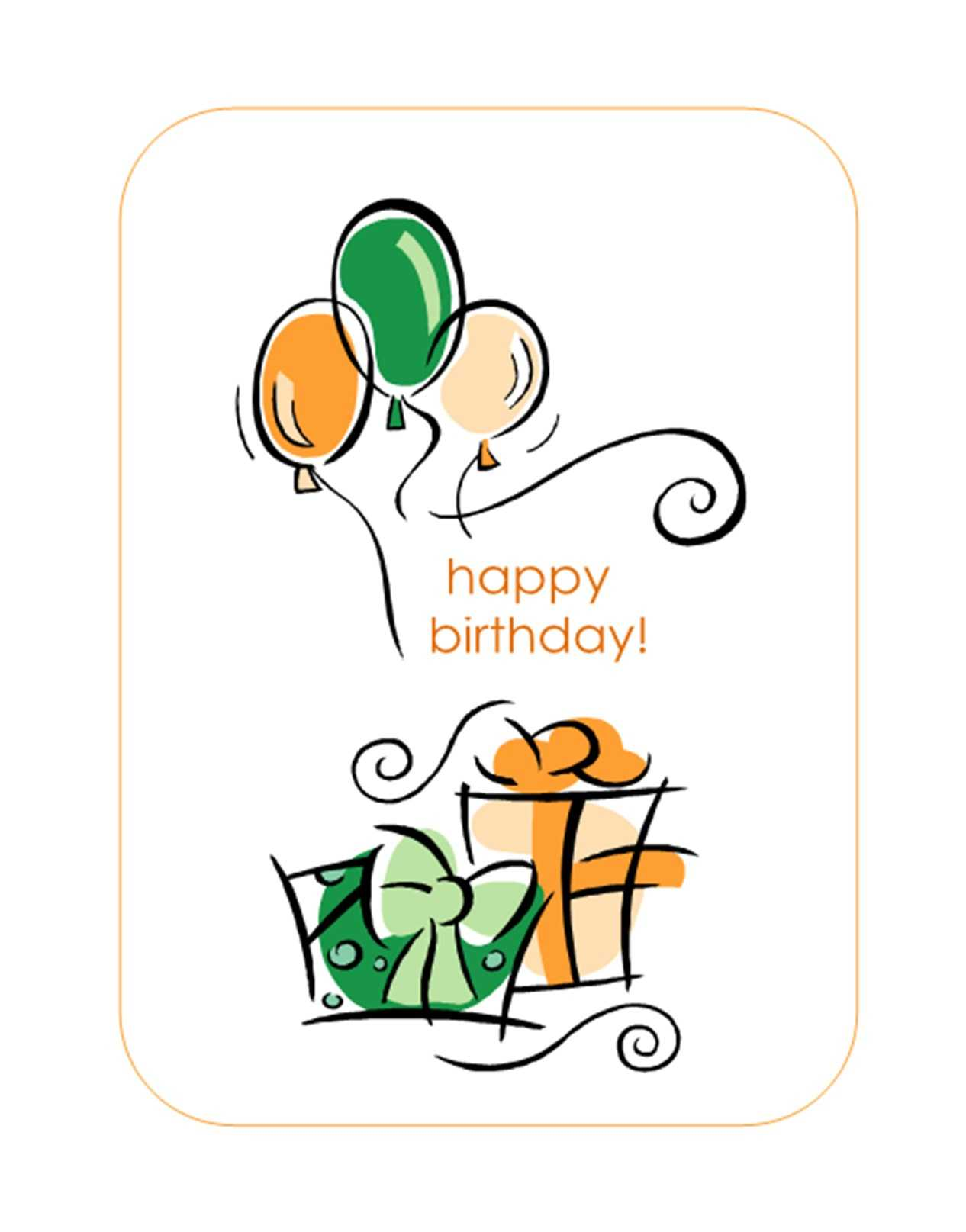 Happy Birthday Card (With Balloons, Quarter Fold) With Regard To Quarter Fold Birthday Card Template