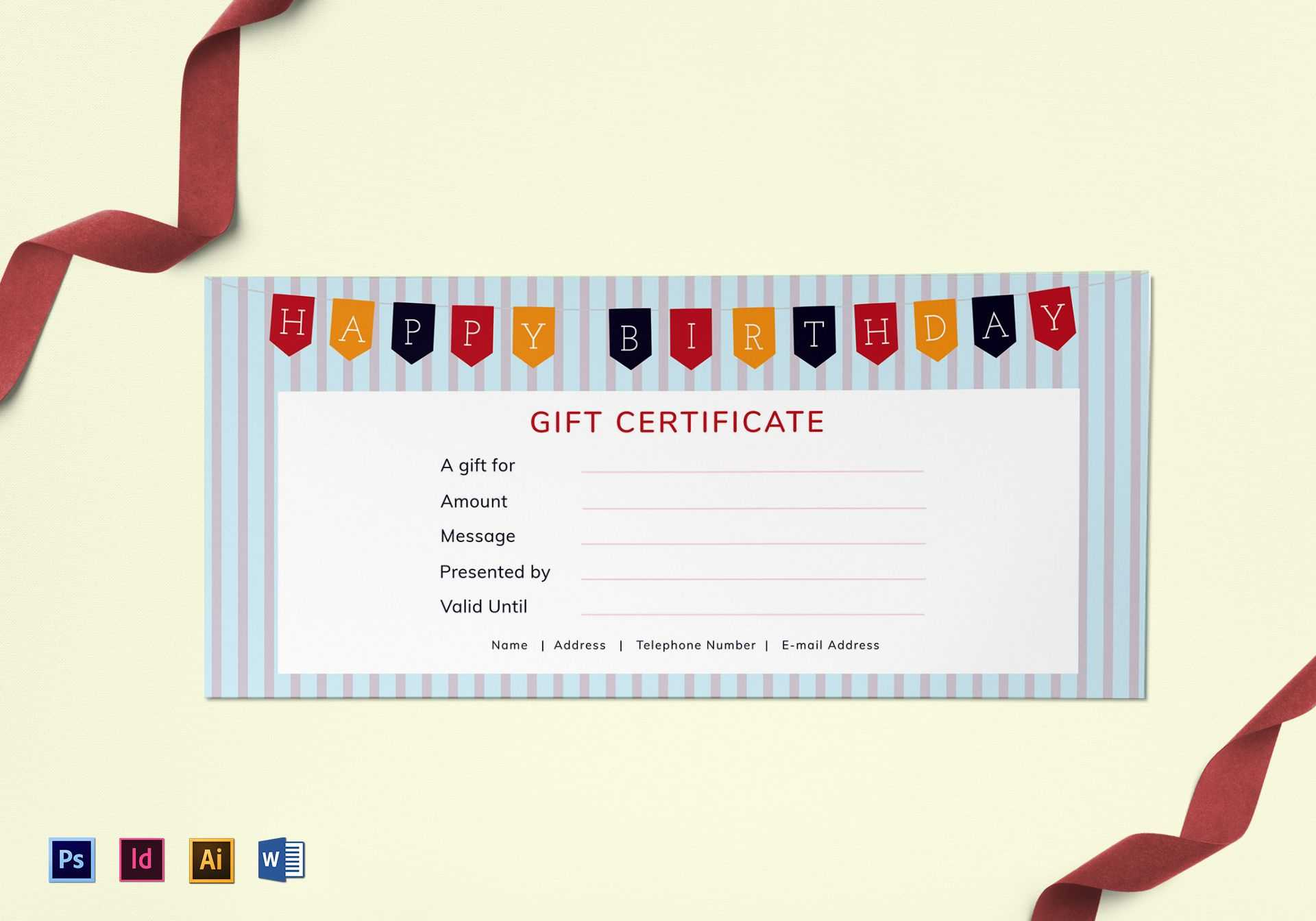 Happy Birthday Gift Certificate Template for Indesign Gift Certificate Template