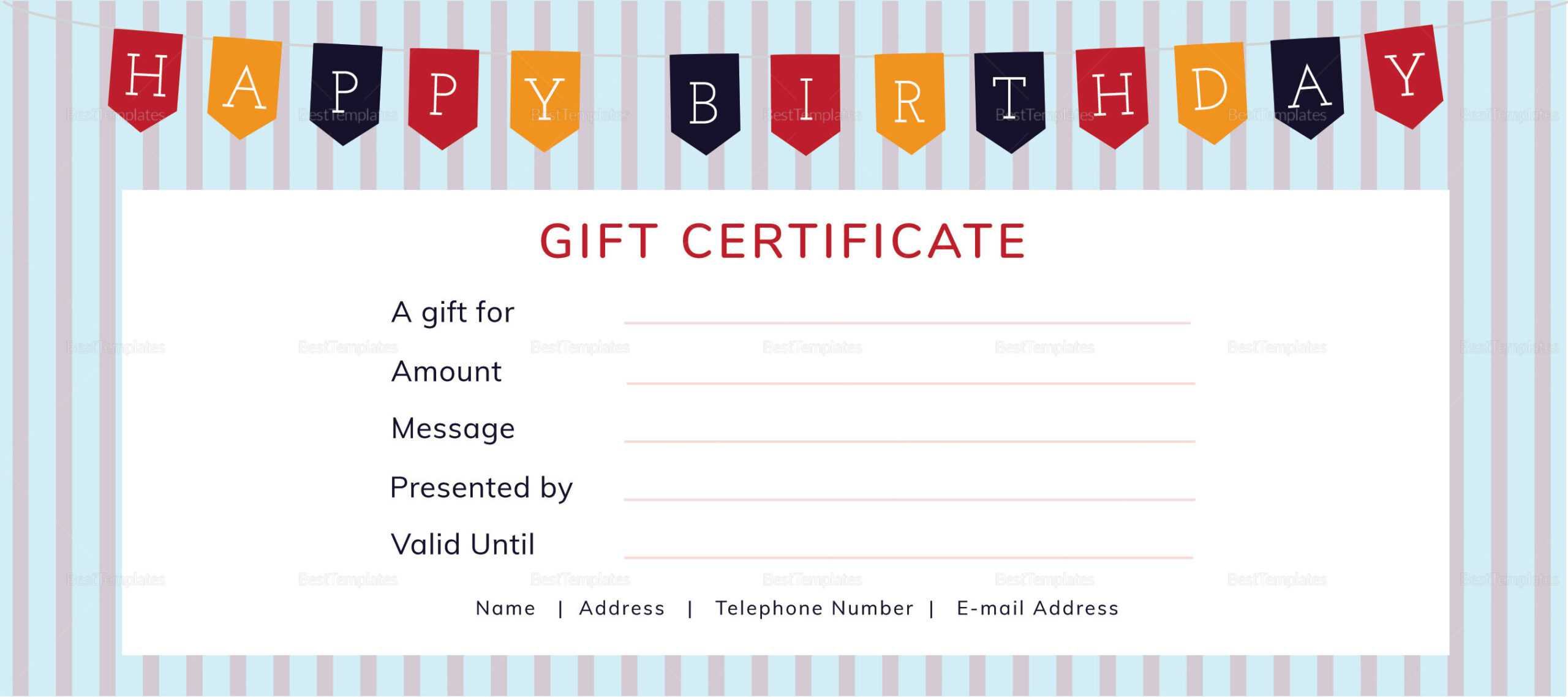 Happy Birthday Gift Certificate Template with regard to Indesign Gift Certificate Template