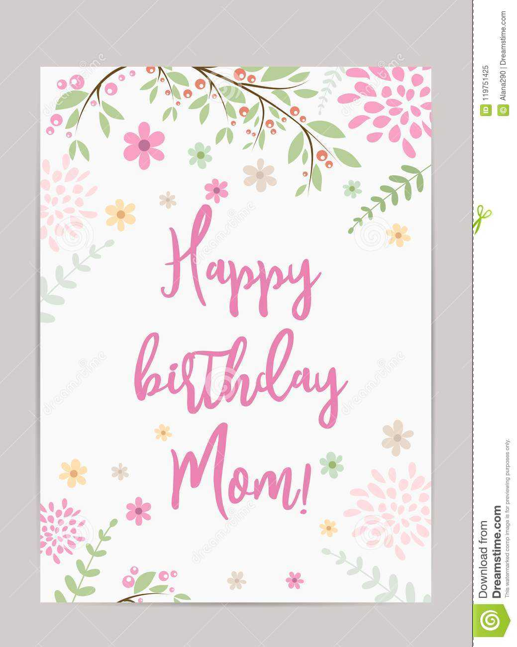 Happy Birthday Mom! Greeting Card Stock Vector intended for Mom Birthday Card Template
