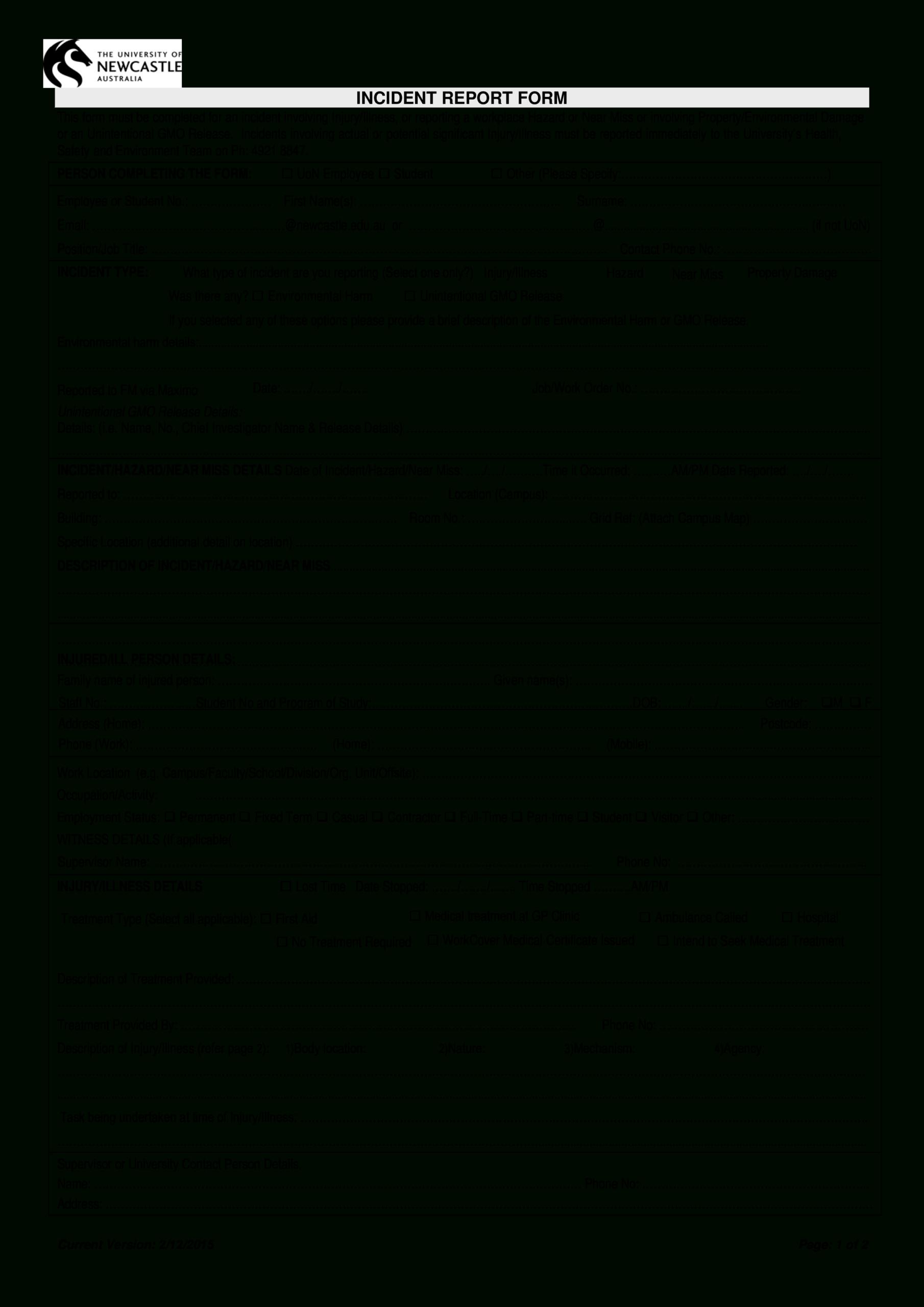 Hazard Incident Report Form | Templates At Inside Hazard Incident Report Form Template