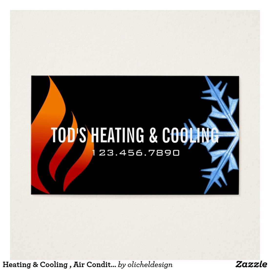 Heating & Cooling , Air Conditioning Hvac Business Card in Hvac Business Card Template