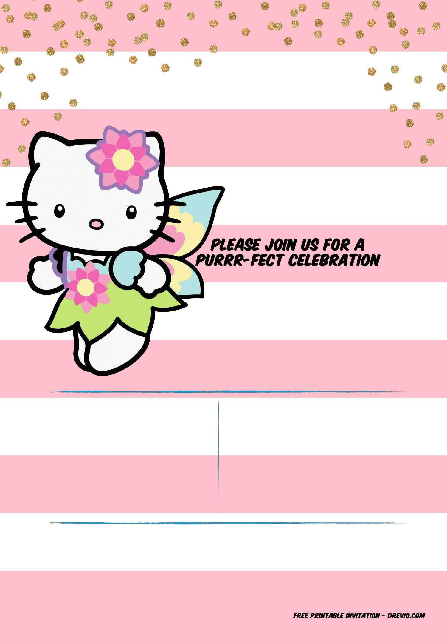 Hello Kitty Invitation Template - Portrait Mode | Printable with regard to Hello Kitty Banner Template