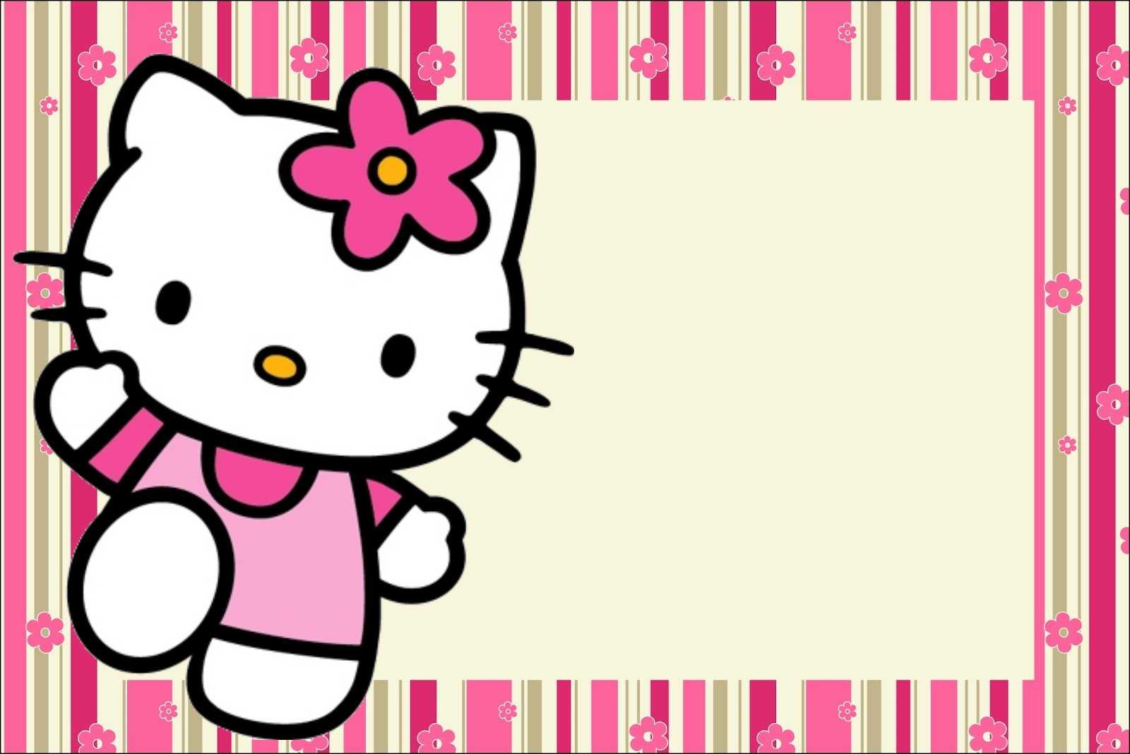 Hello Kitty With Flowers: Free Printable Invitations. - Oh with regard to Hello Kitty Banner Template