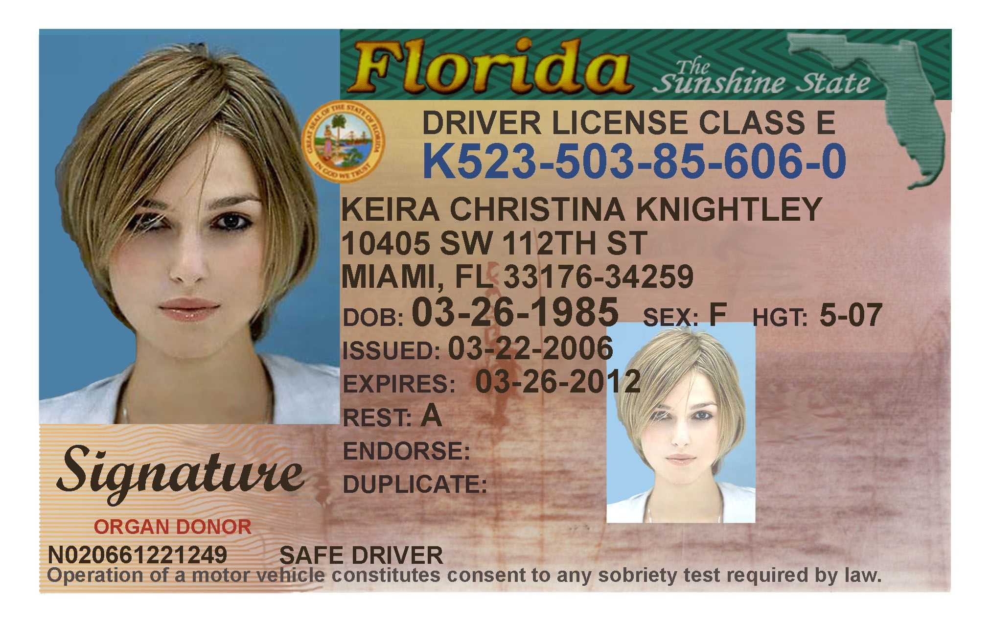 Here's A Sample Of A Fake Florida Id Card That's Solda intended for Georgia Id Card Template