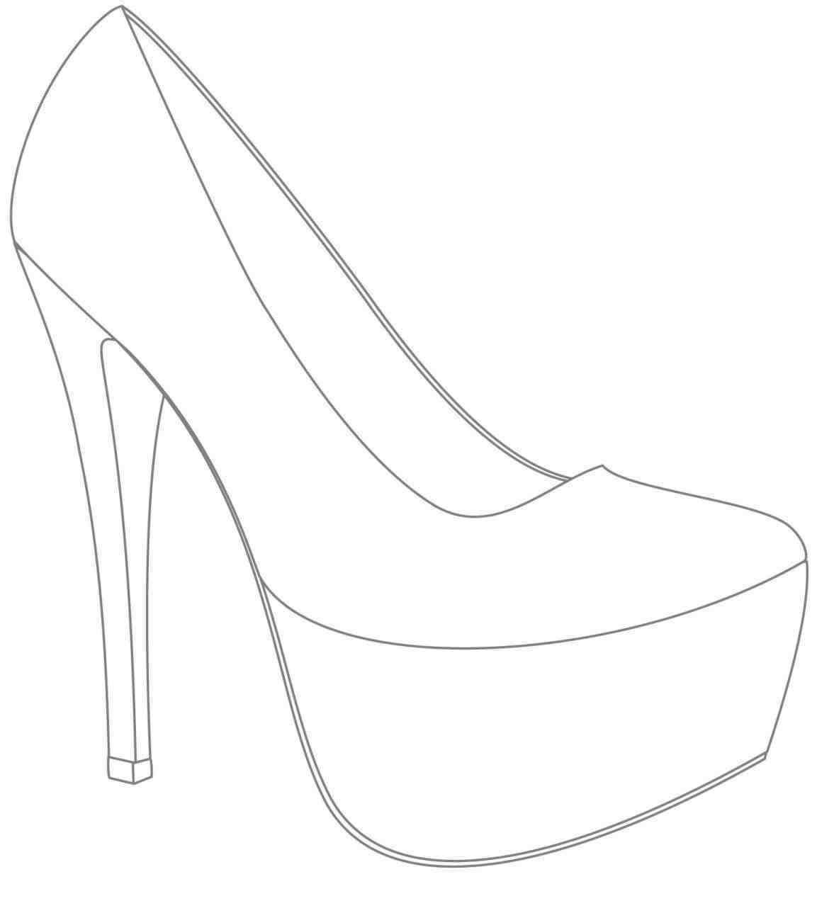High Heel Drawing Template At Paintingvalley | Explore With High Heel Template For Cards