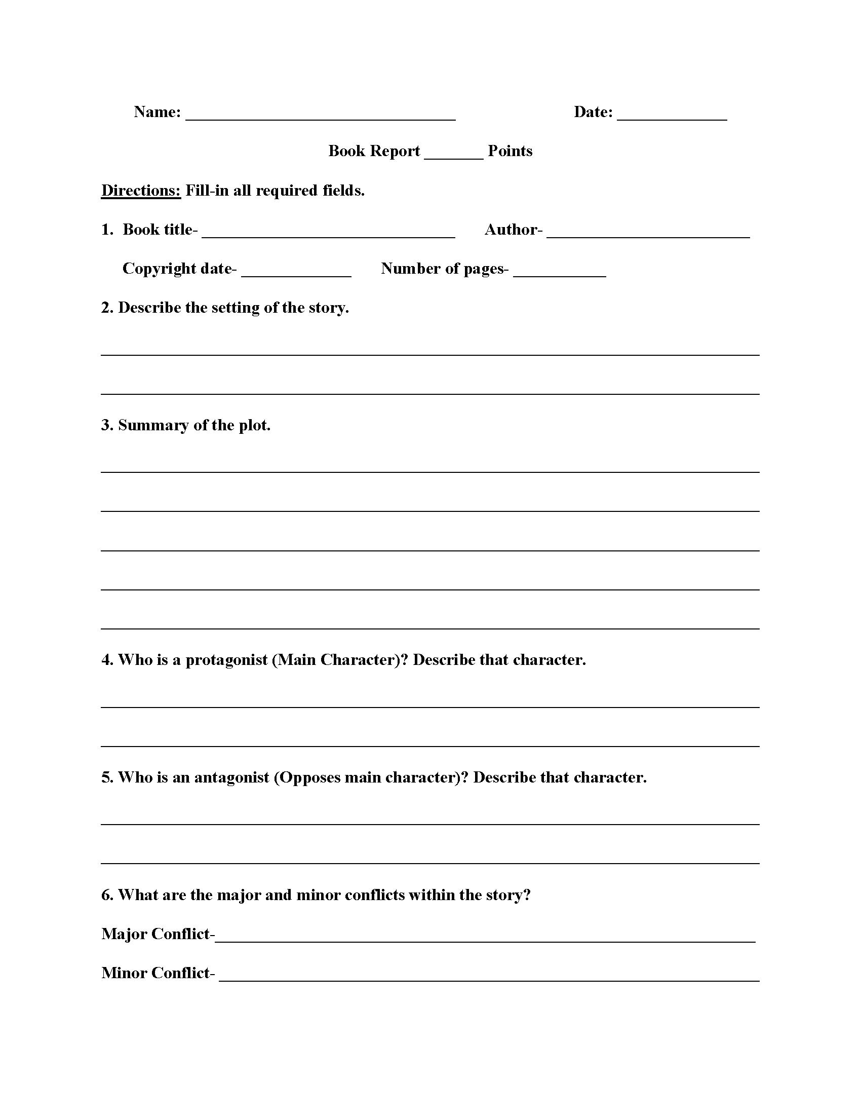 High School Book Report Worksheets   High School Books Throughout High School Book Report Template