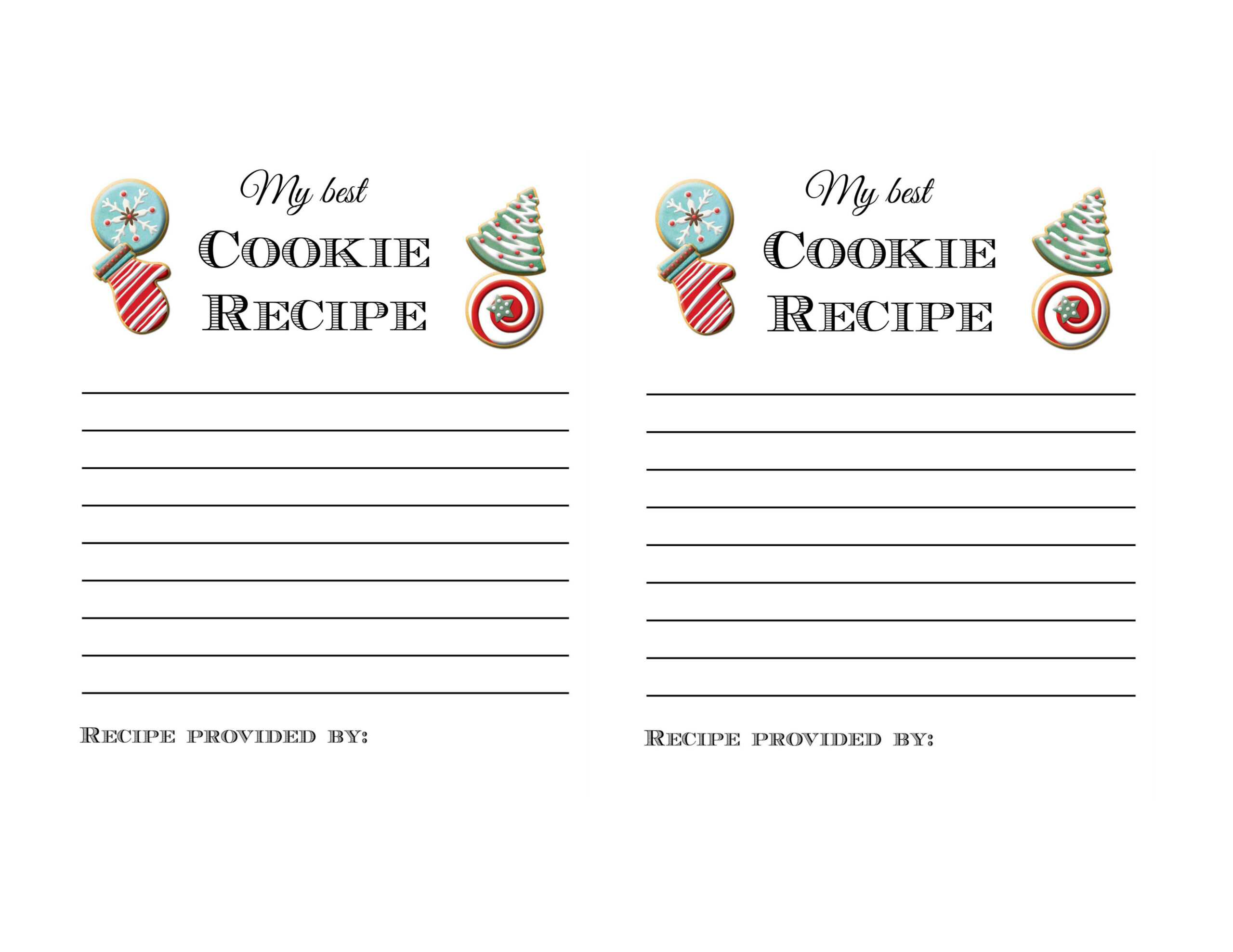 Holiday Cookie Exchange Party Printables And Ideas Tips throughout Cookie Exchange Recipe Card Template