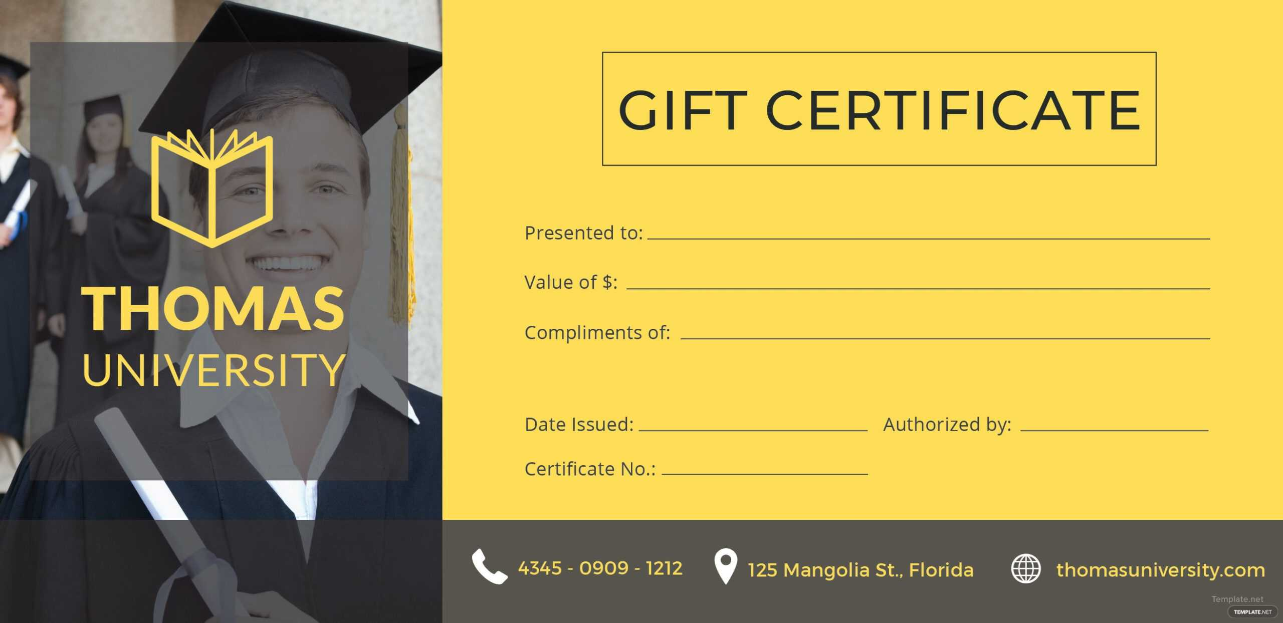 Holiday Gift Certificate Template In Graduation Gift Certificate Template Free