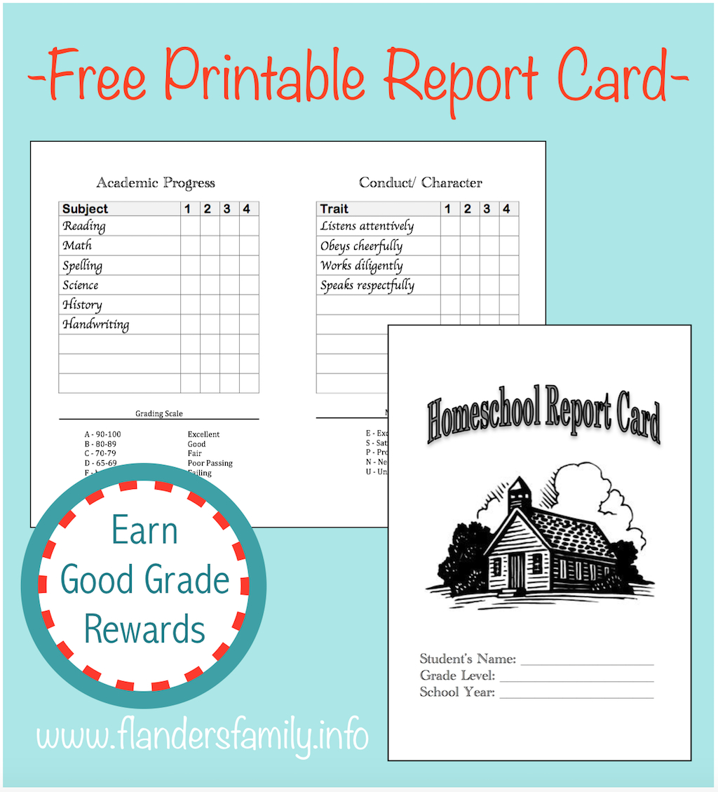 Homeschool Report Cards - Flanders Family Homelife for Character Report Card Template