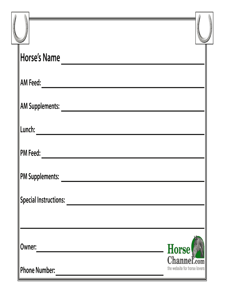 Horse Stall Cards Templates - Fill Online, Printable Inside Horse Stall Card Template