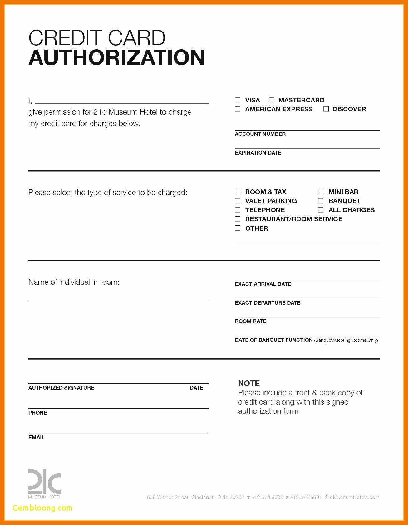 Hotel Credit Card Authorization Form Template Elegant regarding Credit Card Authorization Form Template Word