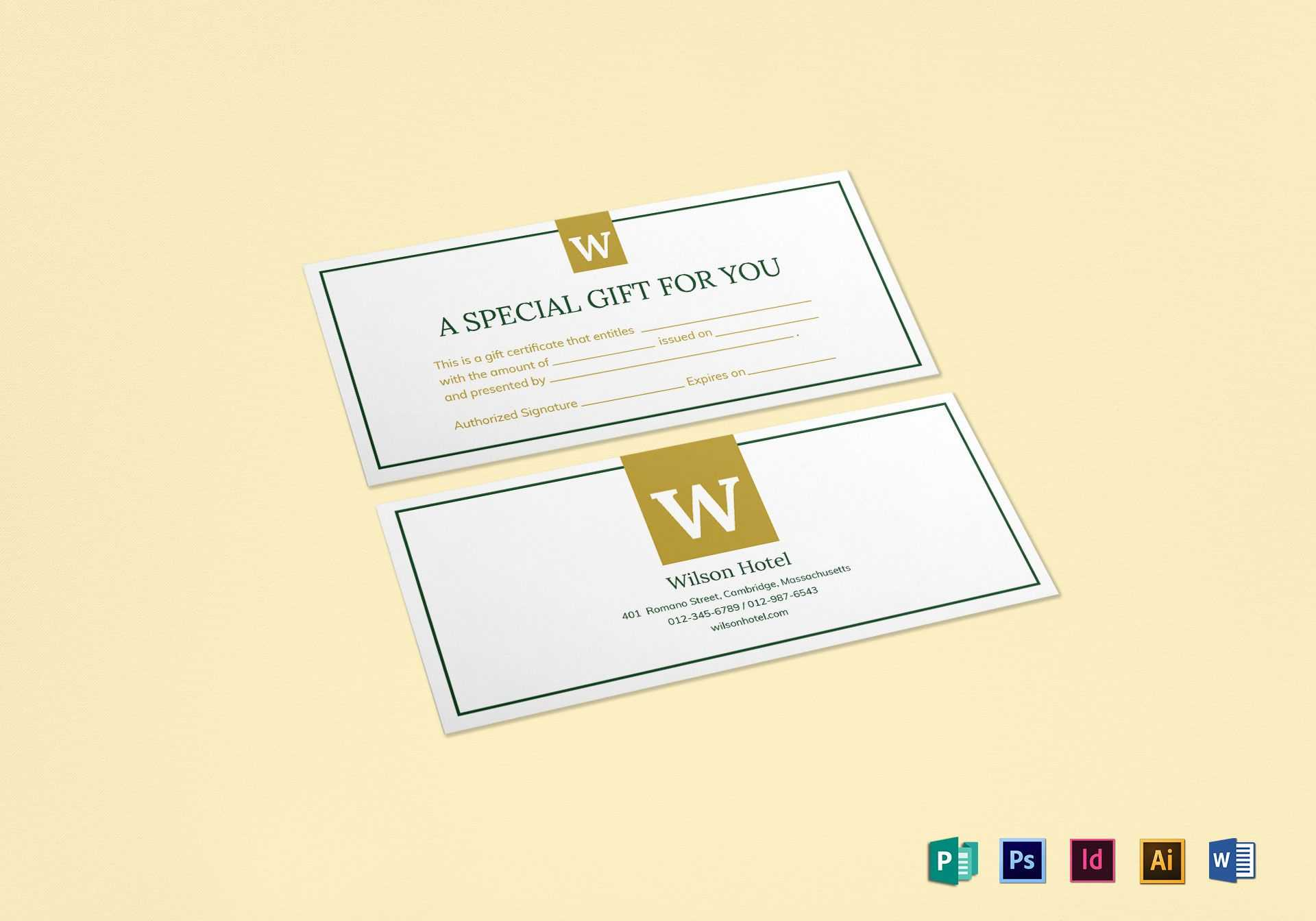 Hotel Gift Certificate Template pertaining to Indesign Gift Certificate Template
