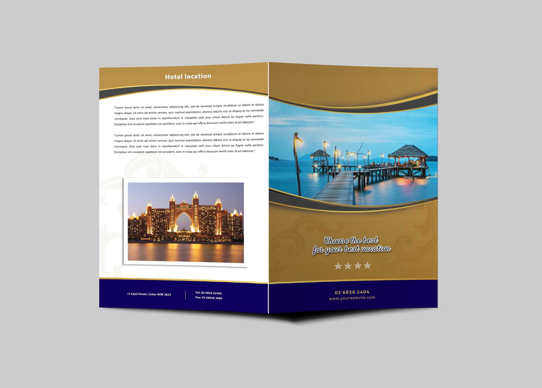Hotel Resort Bi-Fold Brochure Design Template | Psd Premium throughout Hotel Brochure Design Templates