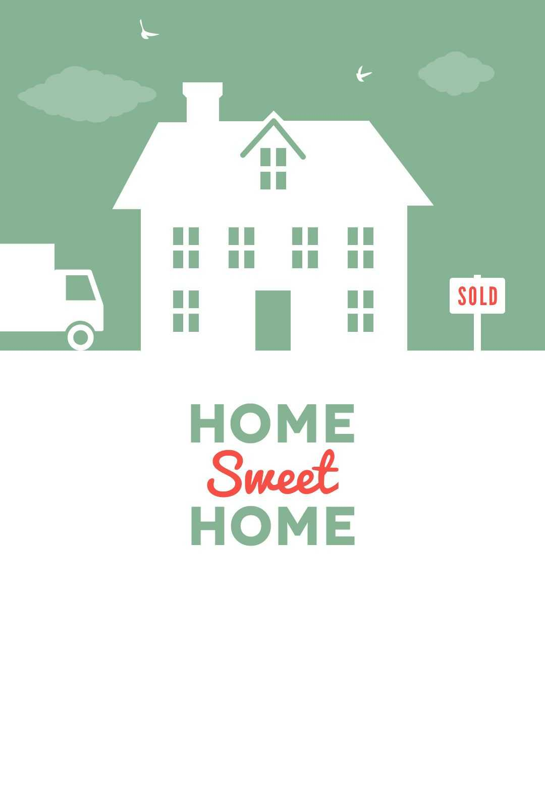 House And Birds - Free Printable Moving Announcement Regarding Moving House Cards Template Free