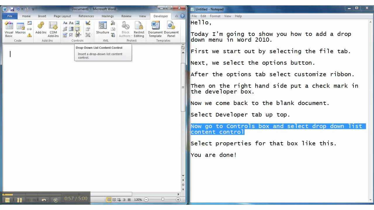 How To Add A Drop-Down Menu In Microsoft Word 2010 pertaining to Word 2010 Templates And Add Ins