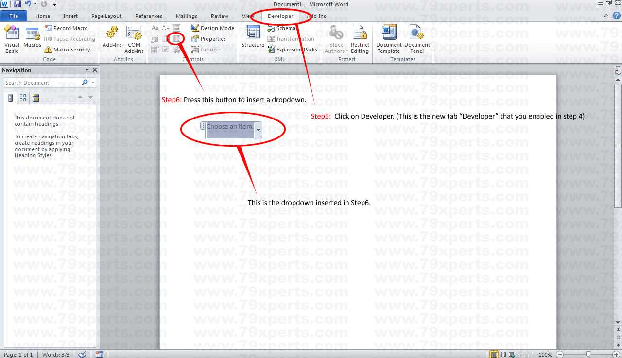 How To Add Drop-Down Menu In Microsoft Word 2010? with regard to Word 2010 Templates And Add Ins