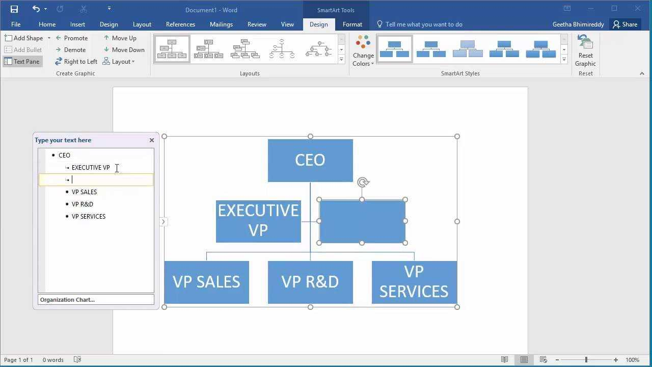 How To Create An Organization Chart In Word 2016 in Org Chart Template Word