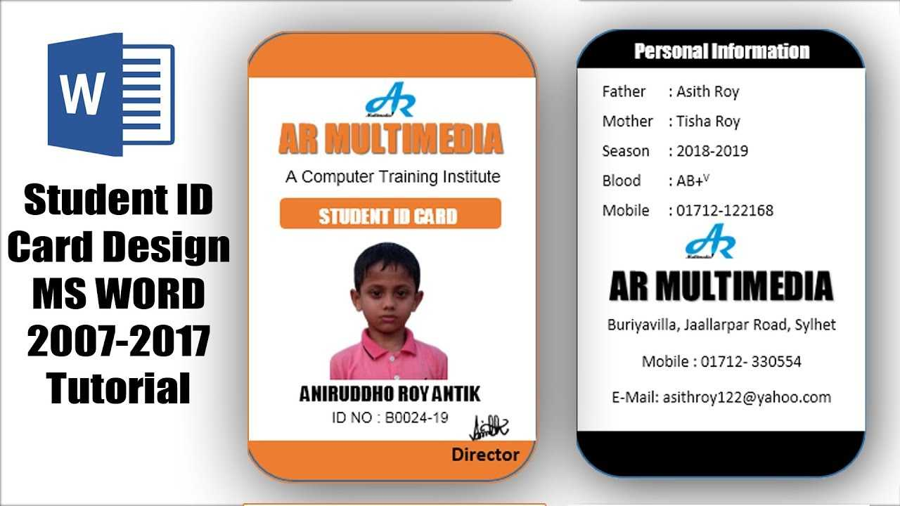 How To Create Professional Student Id Card In Ms Word 2013|Two Part Id Card  Design Microsoft Word With Id Badge Template Word