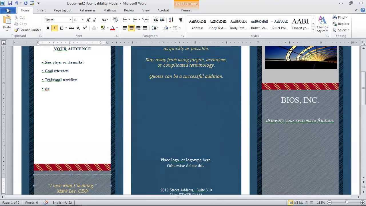 How To Make A Brochure In Microsoft Word Pertaining To Brochure Template On Microsoft Word