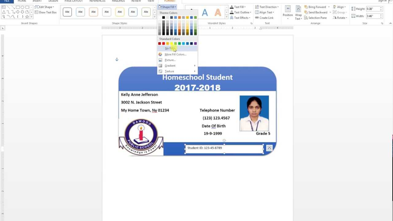 How To Make Id Card Design In Ms Word Urdu Tutorial with regard to Id Badge Template Word