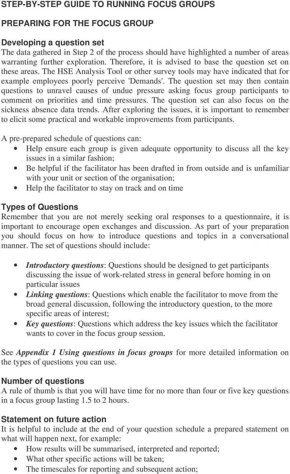 How To Organise And Run Focus Groups - Pdf pertaining to Focus Group Discussion Report Template