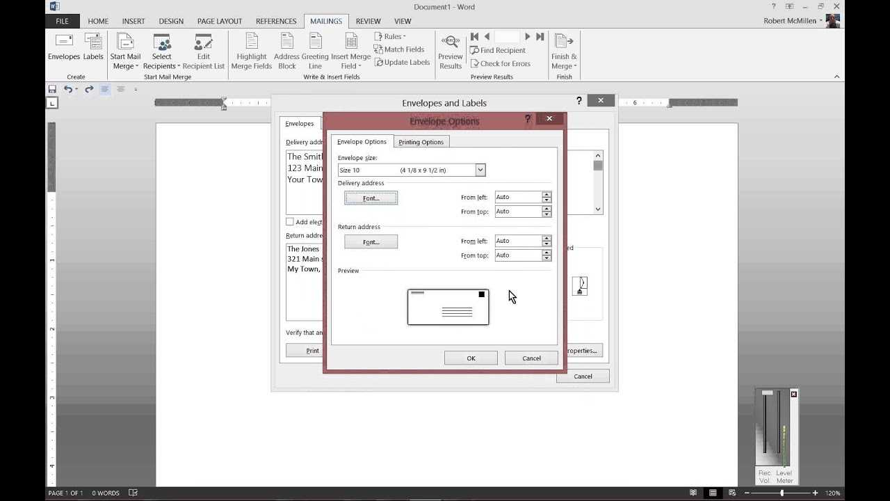 How To Print To Envelopes In Microsoft Word 2013 Inside Word 2013 Envelope Template