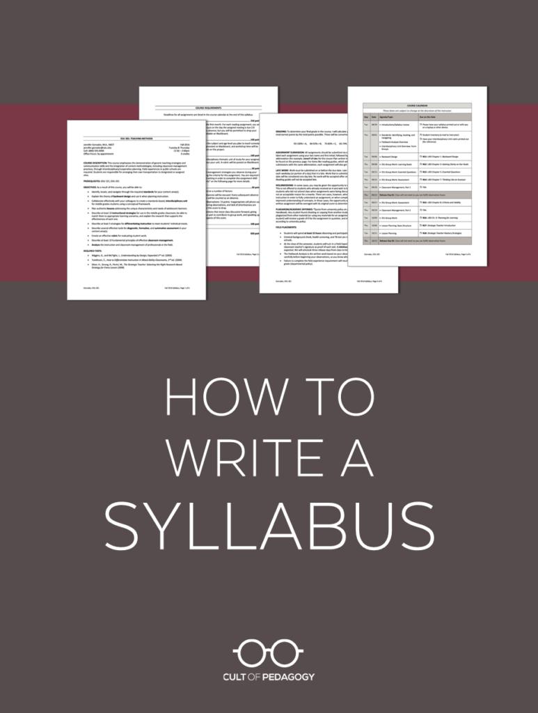 How To Write A Syllabus | Cult Of Pedagogy Regarding Blank Syllabus Template