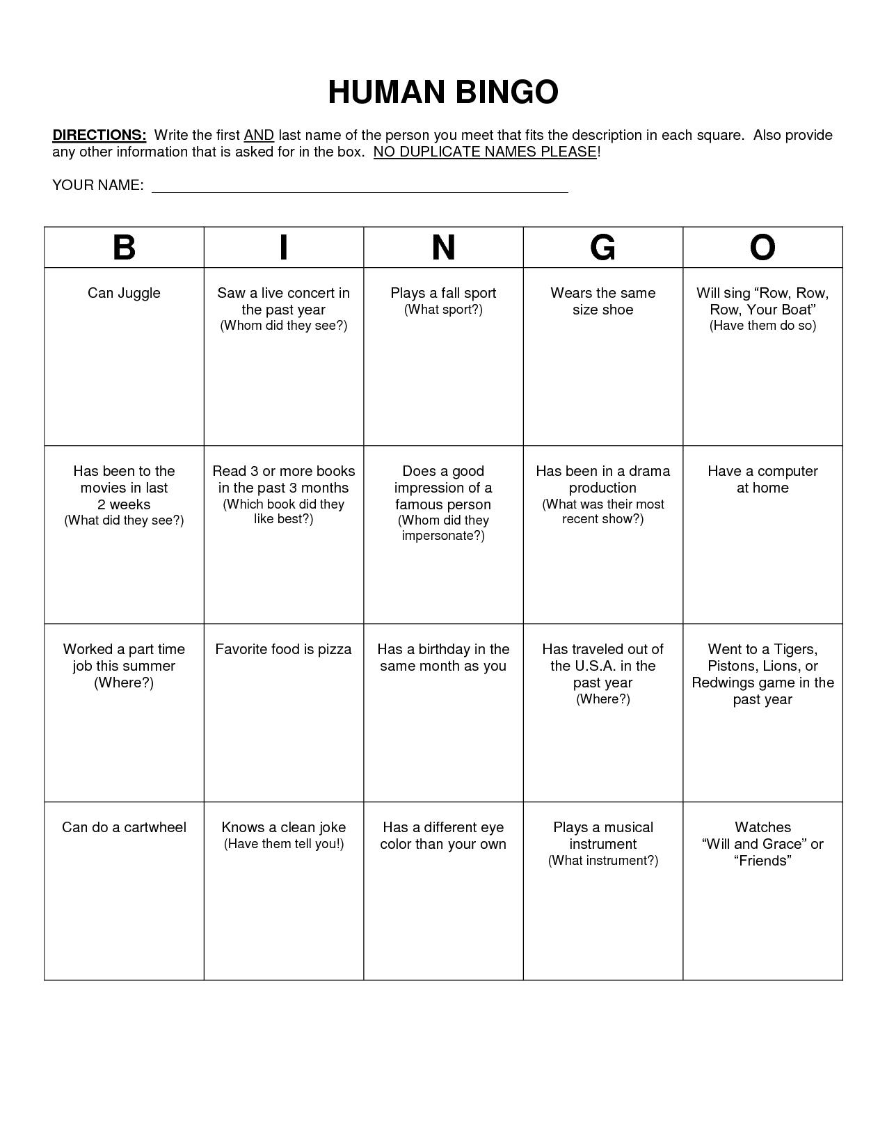 Human Bingo Scavenger Hunt Template | Human Bingo, Bingo inside Ice Breaker Bingo Card Template