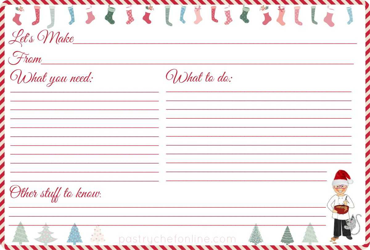 I Made These Free Printable Christmas Recipe Cards For You for Cookie Exchange Recipe Card Template