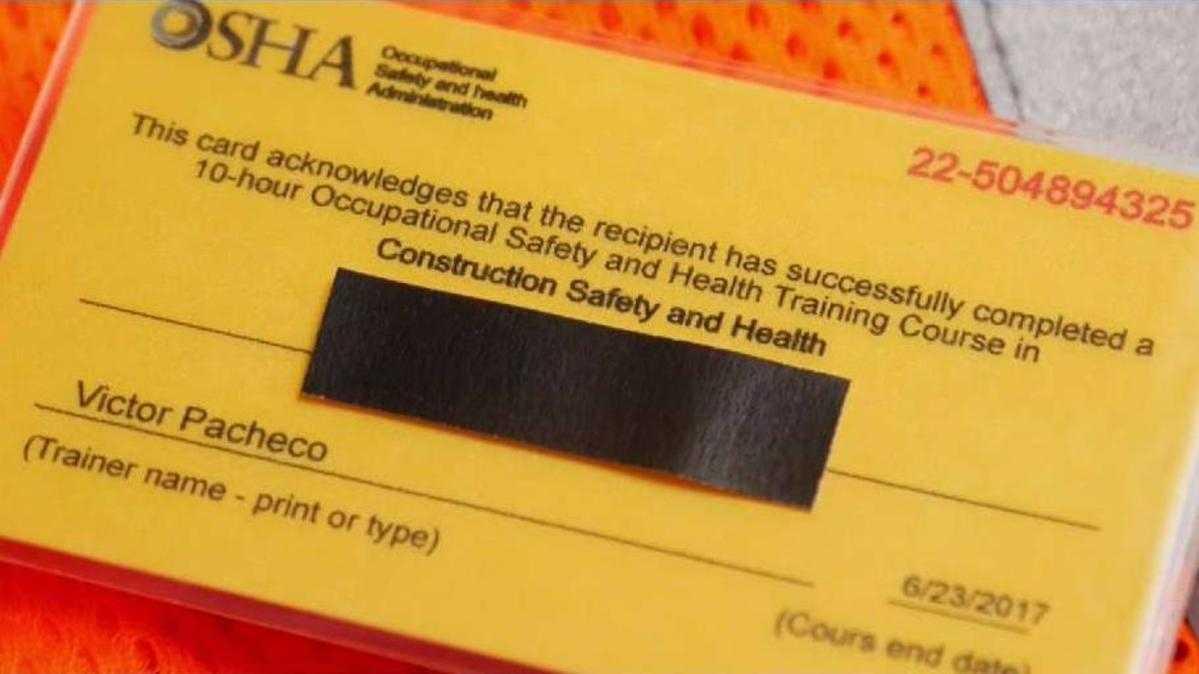 I-Team: Fake Osha Cards Put Construction Workers At Risk inside Osha 10 Card Template
