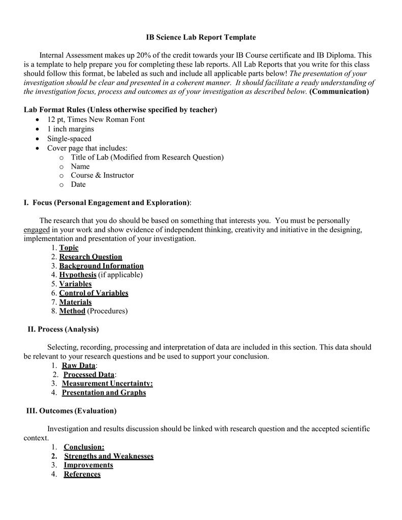 Ib Lab Report Template Ib Science Lab Report Template 2016 inside Ib Lab Report Template