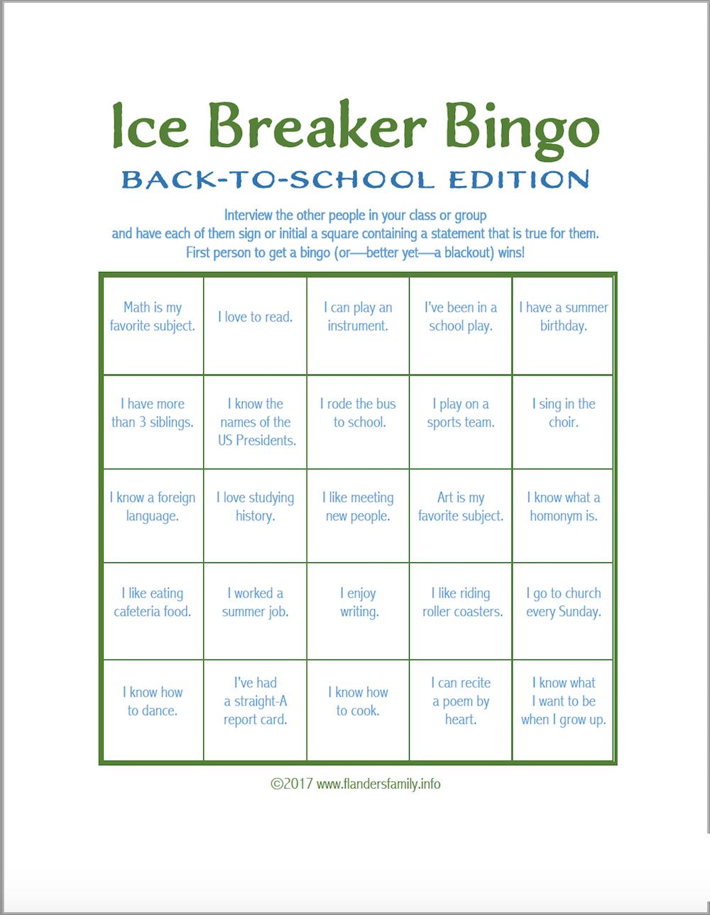 Ice Breaker Bingo: Back-To-School Version - Flanders Family inside Ice Breaker Bingo Card Template