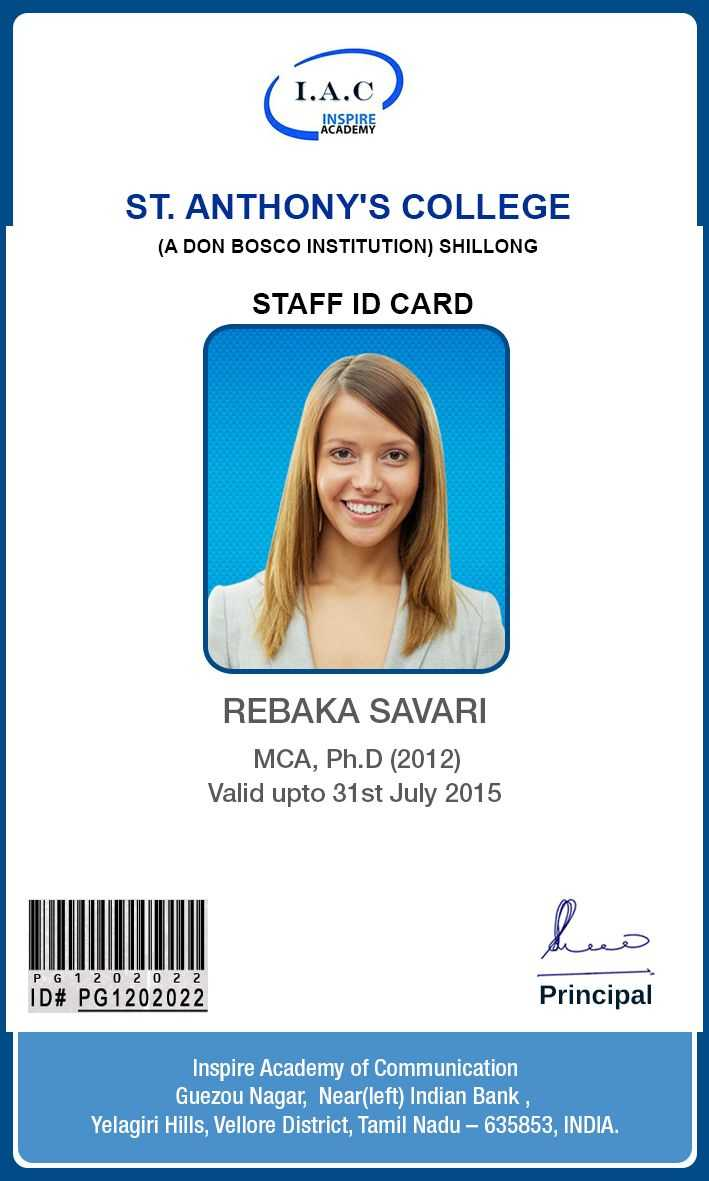 Id Card Designs | Identity Card Design, Id Card Template in Teacher Id Card Template