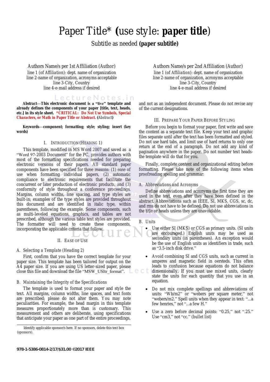 Ieee Paper Format Example Pdf   Floss Papers regarding Ieee Template Word 2007