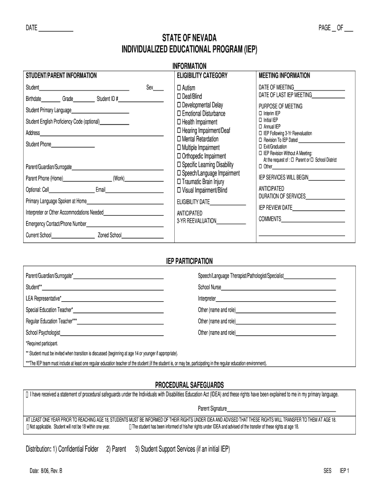 Iep Forms – Fill Online, Printable, Fillable, Blank   Pdffiller In Blank Iep Template
