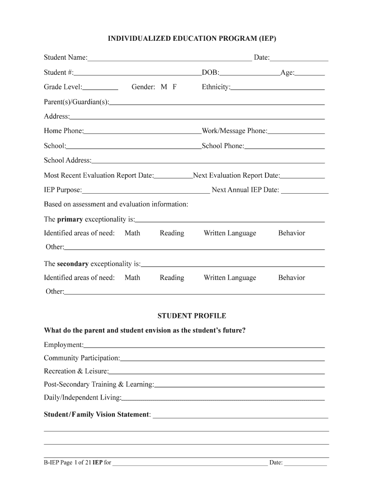 Iep Illinois Form – Fill Online, Printable, Fillable, Blank Pertaining To Blank Iep Template