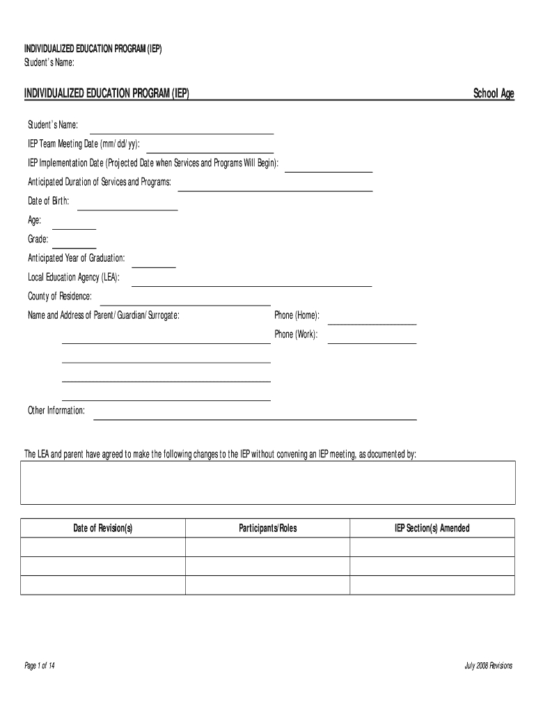 Iep Template – Fill Online, Printable, Fillable, Blank Inside Blank Iep Template